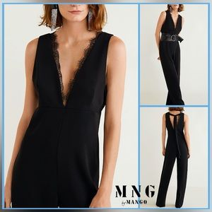 🏷 🆕 MNG by Mango Plunging V Neck Lace Jumpsuit